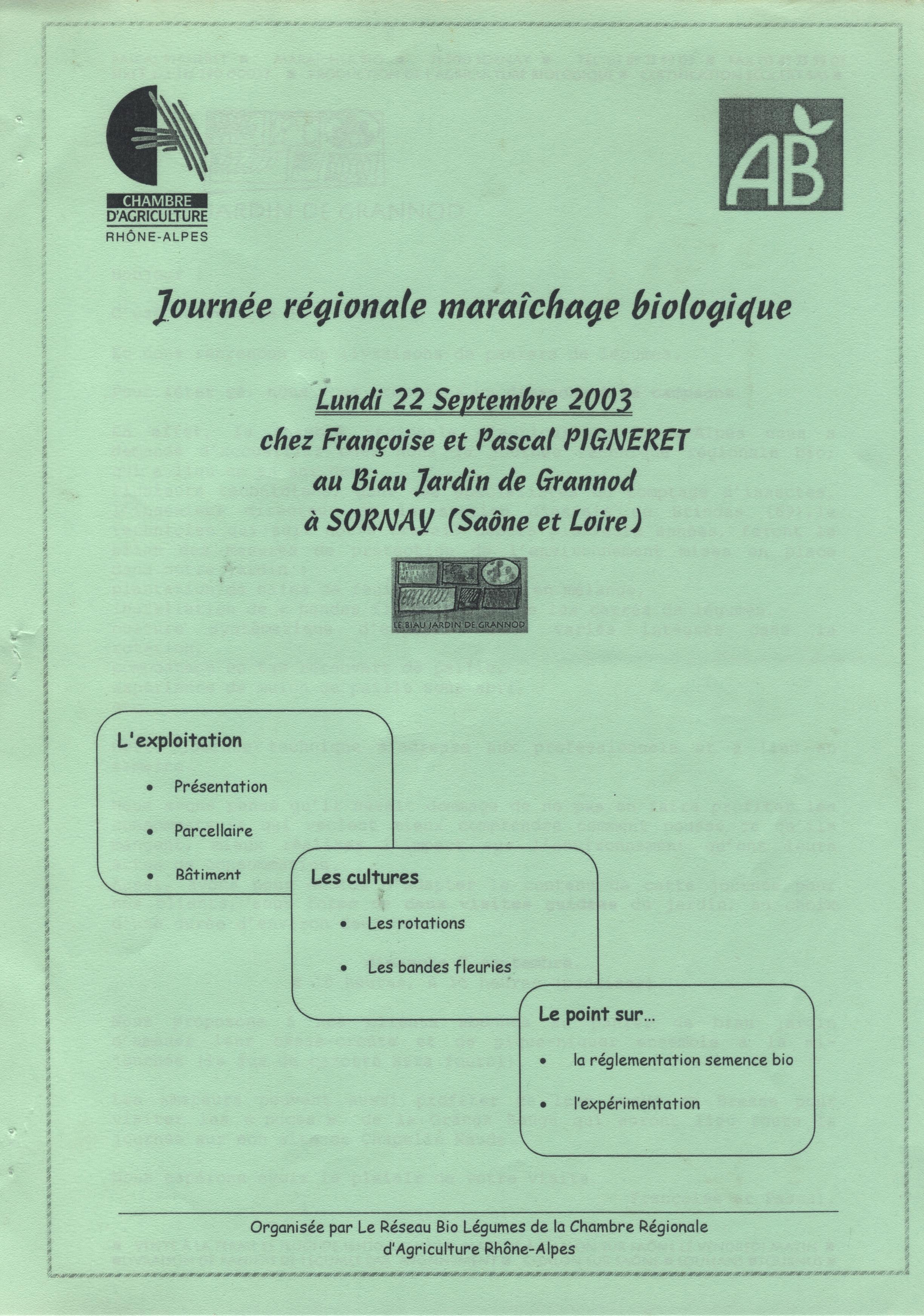 Journée professionnelle pour maraîchers et techniciens agricoles organisée par la chambre régionale d'agriculture Rhône-Alpes