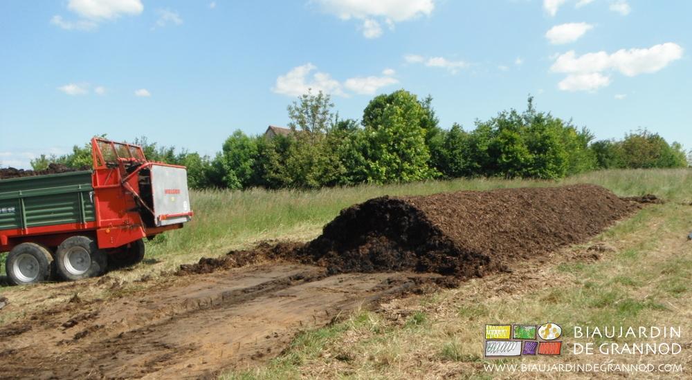 Fumier de bovin, retourné avec la Cuma compost 71, rapidement composté en tas protégé des pluies, puis épandu en surface.