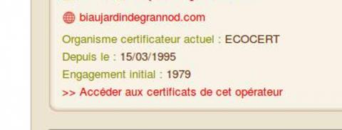 Il suffit de cliquer pour accéder au certificat de l'opérateur
